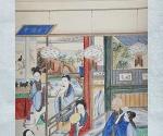 """Szene aus dem Roman """"Traum der Roten Kammer"""": Großmutter Liu besucht Großmutter Jia"""