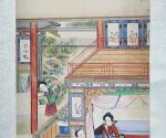 "Szene aus dem Roman ""Traum der Roten Kammer"": Baoyu macht im Xiao Xiang [Guan] einen Krankenbesuch"