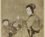 Die Dame Cai Wenji spielt für ihre beiden Söhne die Erhu